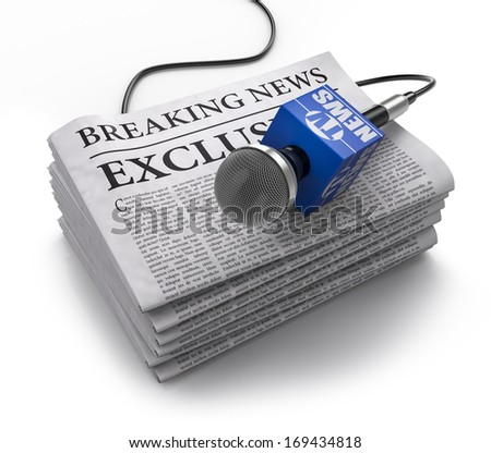 TV and newspaper icon - stock photo