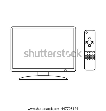 TV and remote icon in outline style on a white background - stock photo