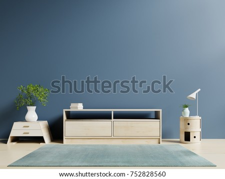 Tv Cabinet In Modern Empty Room And Dark Wall Background. 3d Rendering