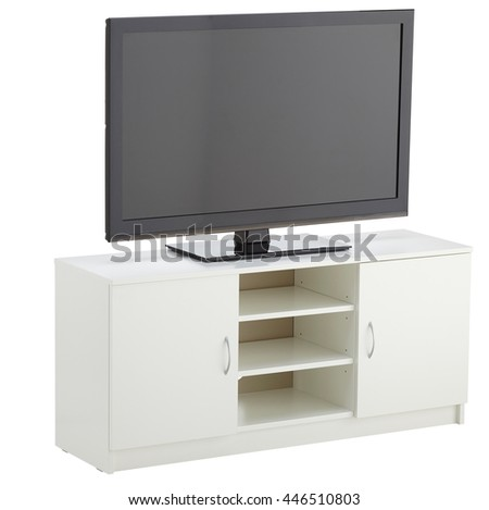 TV cabinet isolated on white. Include clipping path