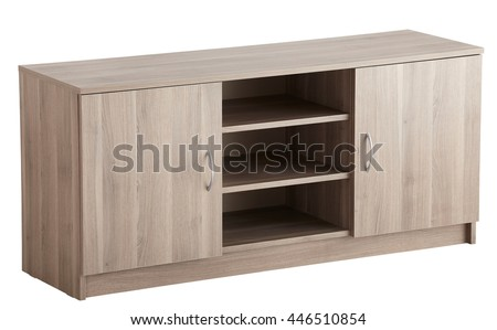 TV cabinet isolated on white. Include clipping path - stock photo
