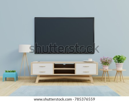 TV Cabinet The Cabinet In Modern Room On Blue Wall Background,3d Rendering