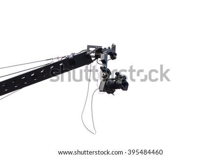TV camera on a crane ,camcorder on crane - stock photo