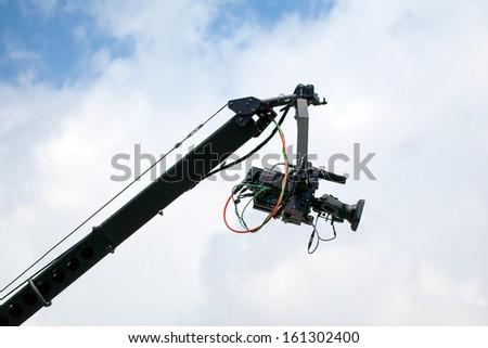 TV camera on the crane  - stock photo