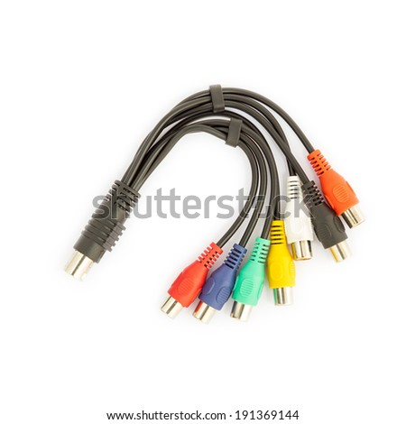 TV connectors on white background. - stock photo