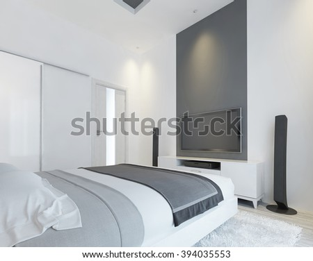TV console with speakers in the modern bedroom in white and gray. Contemporary bedroom with sliding wardrobe and a media system on the wall. 3D render