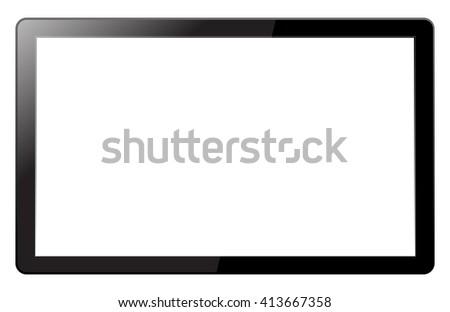 TV display isolated on white background - stock photo