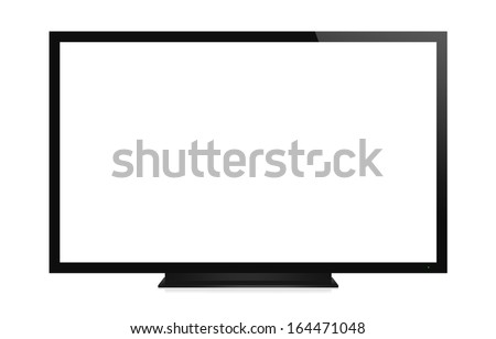 TV display with blank screen. Isolated on white background