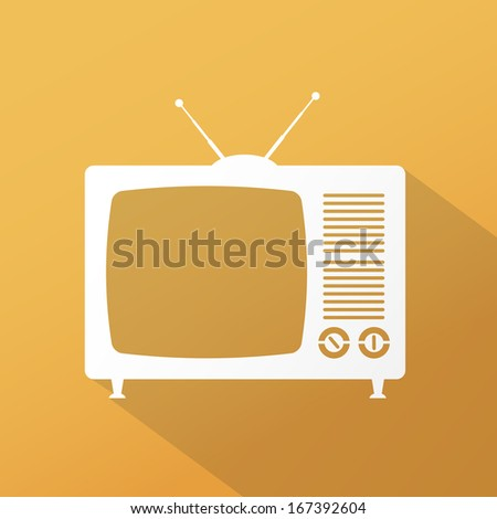 TV flat icon with long shadow - stock photo