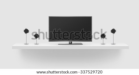 TV flat screen lcd, home theatre realistic illustration, front tv mock up. Black HD monitor mockup. Modern multimedia theater screen mock-up with speakers. Surround stereo audio system isolated. - stock photo