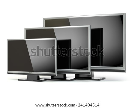 TV flat screen lcd or plasma isolated on white. .Digital broadcasting television. 3d - stock photo