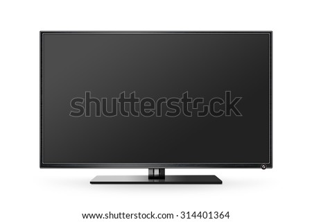 TV flat screen lcd, plasma realistic illustration, tv mock up. Black HD monitor mockup. Modern video panel black screen mock-up. Widescreen show your business presentation on flat display tv set. - stock photo
