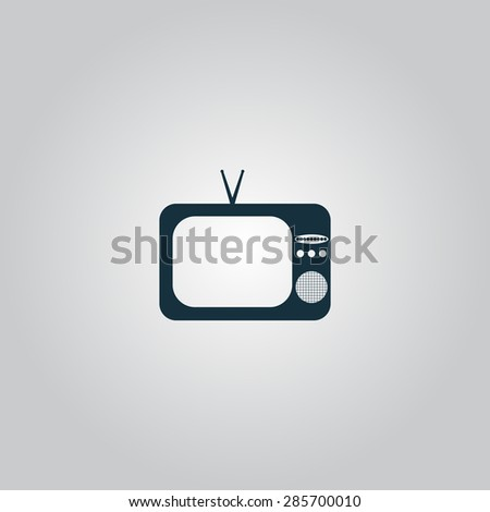 TV. Flat web icon or sign isolated on grey background. Collection modern trend concept design style illustration symbol - stock photo