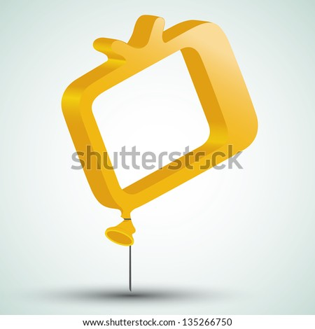 tv icon in form of a balloon - stock photo