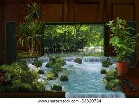 tv interior and waterfall collage - stock photo