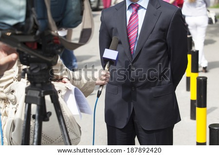 TV interview - stock photo