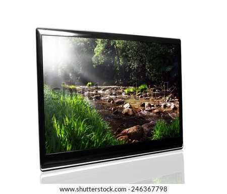 tv monitor over white surface with creek - stock photo