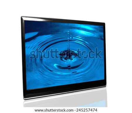tv monitor over white surface with drops