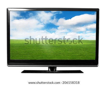 tv monitor with sky and field - stock photo