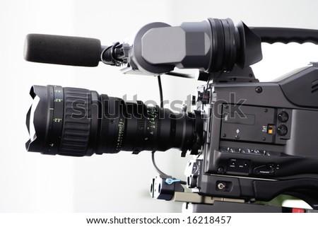 tv movie studio camera - stock photo