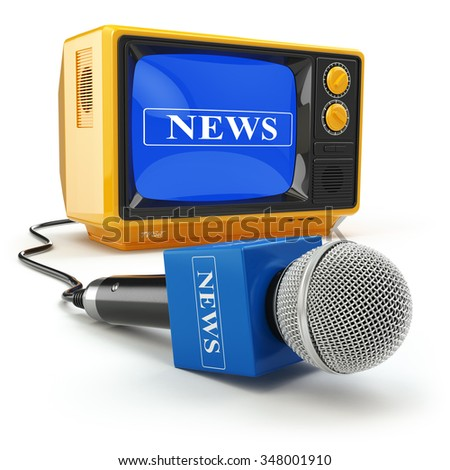 Tv news or reportage concept. Microphone and television. 3d - stock photo