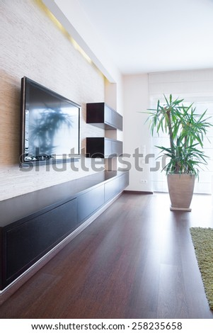 Tv on the wall inside modern room, vertical