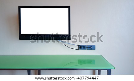 TV on wall isolate on screen
