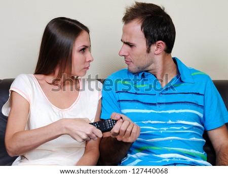 TV pilot quarrel - stock photo