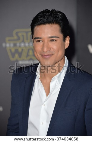 "TV presenter Mario Lopez at the world premiere of ""Star Wars: The Force Awakens"" on Hollywood Boulevard. December 14, 2015  Los Angeles, CA Picture: Paul Smith / Featureflash - stock photo"