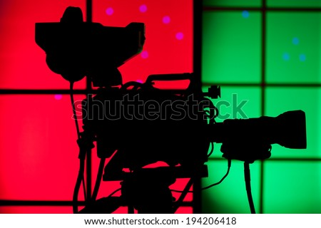 TV professional digital video camera - for TV production - stock photo