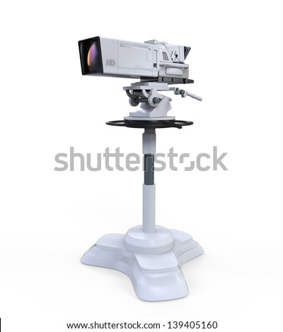 TV Professional Studio Digital Video Camera Isolated on White Background - stock photo