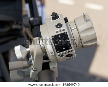 TV Professional studio digital video camera tv video camera in a concert hall - stock photo