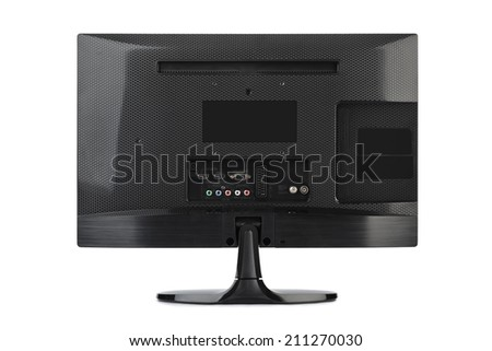 TV rear view isolated on white background - stock photo