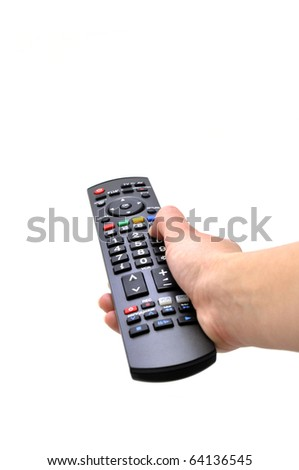 tv remote and women hand isolated white - stock photo