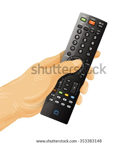 TV remote control in hand isolated on white background - stock photo