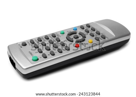 TV remote control on white background - stock photo