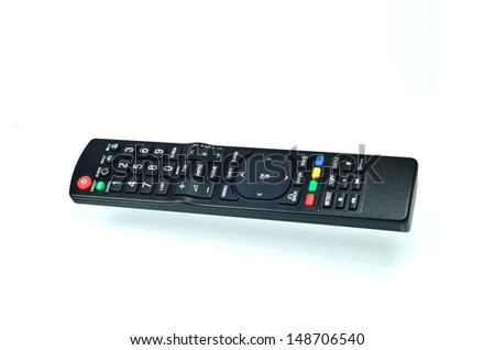 TV remote control with shadow on white background - stock photo
