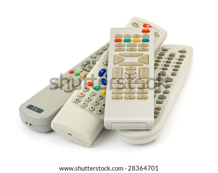 TV remote controls isolated on white background - stock photo