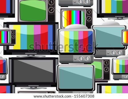 Tv retro seamless pattern. Colorful abstract  background. - stock photo