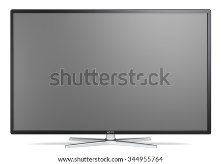 TV Screen. Non branded Widescreen TV on metal stand. Black frame. Blank for copy space.  - stock photo
