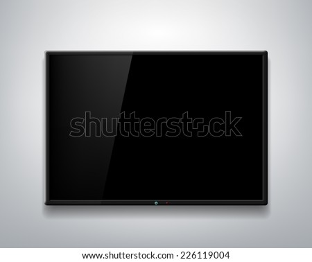 TV screen on the wall background - stock photo