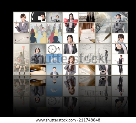 TV screen wall showing pictures of business concept by Asian business people.