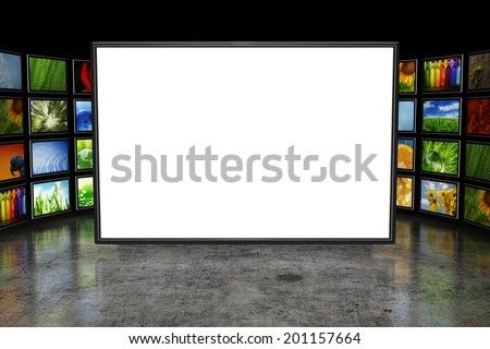 Tv screen with images - stock photo