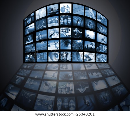 TV screens panel. Television media production technology
