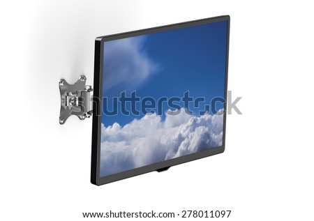 TV set with TV wall mount isolated on white background