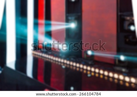 TV show filming backstage abstract blur background shot with shallow depth of field - stock photo