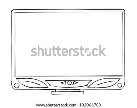 tv sketch monitor - stock photo