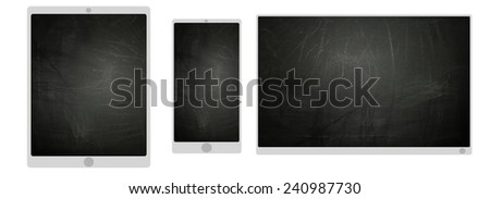 TV smartphone and tablet icons with blackboard texture screen - stock photo