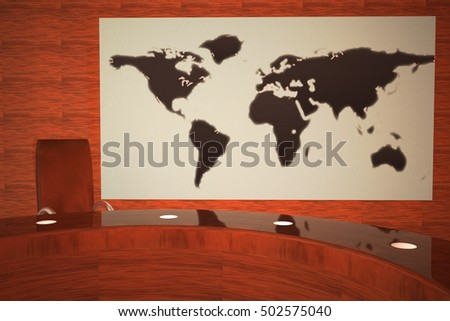 TV studio with world map, 3d rendering
