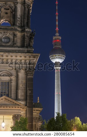 TV Tower (Fernsehturm) and Berlin Cathedral (Berliner Dom) at night, Berlin Mitte, Germany, Europe - stock photo